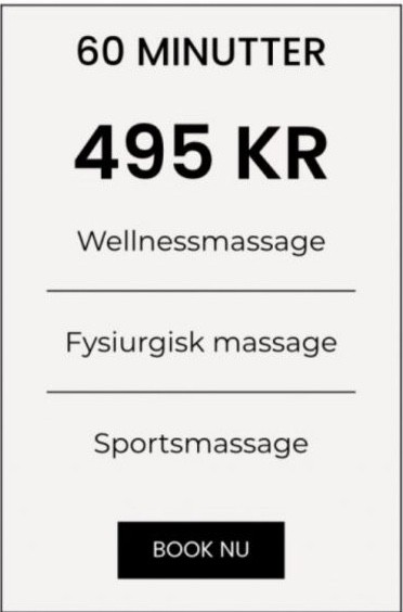 Massage prisskilt 60 min.